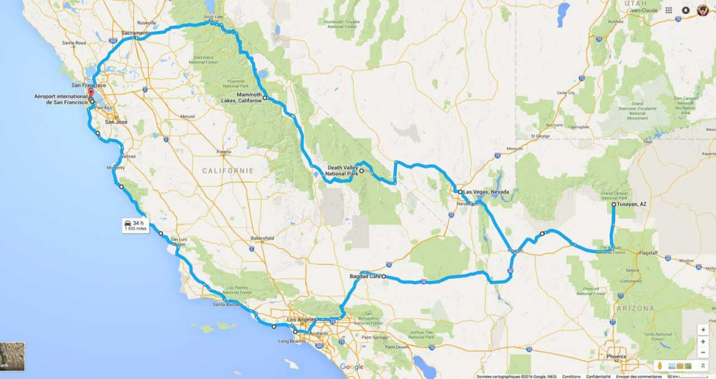 Roadtrip en Californie en Octore - L'itinéraire